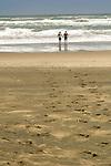 Karekare Beach, Couple approaching waves on beach