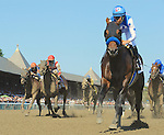 Drefong (no. 13), ridden by Mike Smith and trained by Bob Baffert, wins the 32nd running of the grade 1 King's Bishop Stakes for three year olds on August 27, 2016 at Saratoga Race Course in Saratoga Springs, New York. (Bob Mayberger/Eclipse Sportswire)