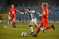Jennifer Bouchenna (17) of Charleroi and Jana Simons (8) of Woluwe pictured during a female soccer game between FC Femina White Star Woluwe and Sporting Charleroi on the 2nd matchday of Play off 2 in  the 2020 - 2021 season of Belgian Scooore Womens Super League , friday 16 th of April 2021  in Woluwe , Belgium . PHOTO SPORTPIX.BE   SPP   STIJN AUDOOREN