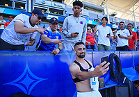 CARSON, CA - FEBRUARY 1: Sebastian Lletget #17 of the United States taking selfies and celebrating with fans during a game between Costa Rica and USMNT at Dignity Health Sports Park on February 1, 2020 in Carson, California.