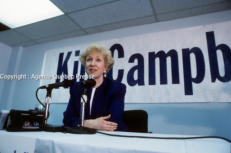 FILE PHOTO :  <br /> <br /> Kim Campbell<br /> during the 1993 conservative party leadership  campaign March 26,1993 in Montreal, Canada.<br /> <br /> Photo :  Pierre Roussel  - Agence Quebec Presse