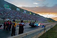 Jul 19, 2019; Morrison, CO, USA; NHRA funny car driver Jeff Diehl during qualifying for the Mile High Nationals at Bandimere Speedway. Mandatory Credit: Mark J. Rebilas-USA TODAY Sports