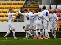 15th November 2020; Tallaght Stadium, Dublin, Leinster, Ireland; 2021 Under 21 European Championships Qualifier, Ireland Under 21 versus Iceland U21; Iceland team celebrate taking a 1-0 lead against Republic of Ireland with the goal from Sveinn Gudjohnsen