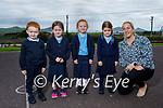 Junior infants in Lisa Ní Ghairbhín's class in Scoil An Fhirtearaigh, Ballyferriter on Tuesday. L to r: Robbie Ó hÉalaíghthe, Roisín Ní Shuilleabhaín, Hannah Ní Chinnéide, Eve Eadie and Lisa Ní Ghairbhín (Teacher).