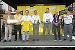 Laurent Devin, Bourgmestre de Binche, Christian Prudhomme Tour Director, and former champions Joop Zootemelk (NED) and Freddy Maertens (BEL) in the Tour Village before Stage 3 of the 2019 Tour de France running 215km from Binche, Belgium to Epernay, France. 8th July 2019.<br /> Picture: ASO/Olivier Chabe | Cyclefile<br /> All photos usage must carry mandatory copyright credit (© Cyclefile | ASO/Olivier Chabe)