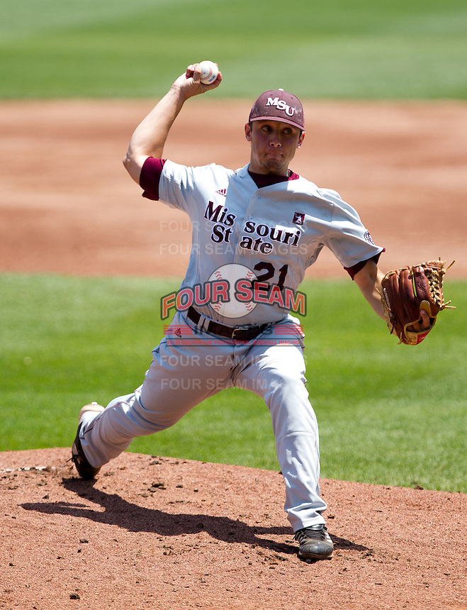 Cody Schumacher (21) of the Missouri State Bears delivers a pitch during a game against the Wichita State Shockers in the 2012 Missouri Valley Conference Championship Tournament at Hammons Field on May 23, 2012 in Springfield, Missouri. (David Welker/Four Seam Images)