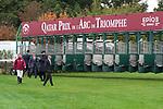 October 07, 2018, Longchamp, FRANCE - Aidan O'Brien and team check the starting gate for the Prix de l'Arc de Triomphe at ParisLongchamp Race Course  [Copyright (c) Sandra Scherning/Eclipse Sportswire)]