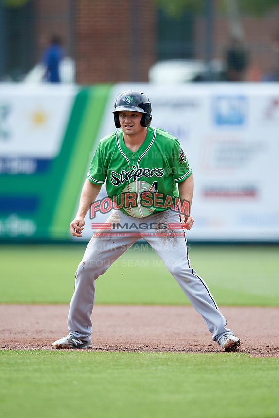 Gwinnett Stripers designated hitter Phil Gosselin (54) leads off first base during a game against the Columbus Clippers on May 17, 2018 at Huntington Park in Columbus, Ohio.  Gwinnett defeated Columbus 6-0.  (Mike Janes/Four Seam Images)