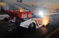 Jan 25, 2009; Chandler, AZ, USA; NHRA funny car driver Robert Hight launches off the starting line during testing at the National Time Trials at Firebird International Raceway. Mandatory Credit: Mark J. Rebilas-