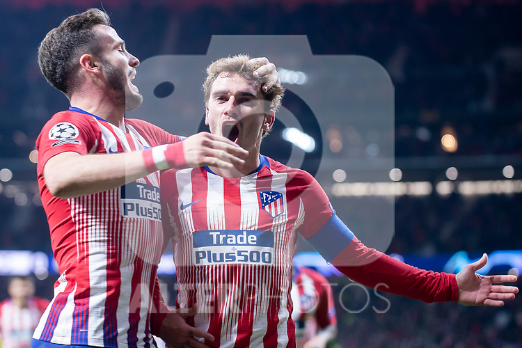 Atletico de Madrid Saul Niguez and Antoine Griezmann celebrating a goal during group stage of UEFA Champions League match between Atletico de Madrid and Borussia Dortmund at Wanda Metropolitano in Madrid, Spain.November 06, 2018. (ALTERPHOTOS/Borja B.Hojas)