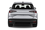 Straight rear view of 2021 Skoda Enyaq-iV 80 5 Door SUV Rear View  stock images