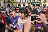Podemos presidential candidate Teresa Rodriguez at a rally in Malaga a week before Andalusian parliamentary elections in which the grassroots party is hoping to make significant gains.