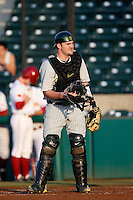 Shaun Chase #16 of the Oregon Ducks at catcher during a baseball game against the USC Trojans at Dedeaux Field on March 15, 2013 in Los Angeles, California. (Larry Goren/Four Seam Images)