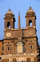 Iconic Spanish Steps and the Trinità dei Monti church, Rome, Italy.