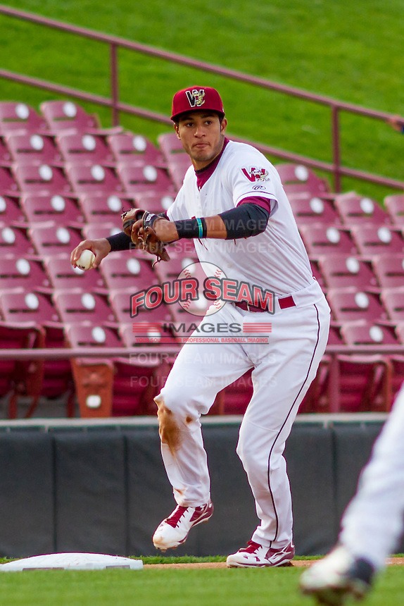 Wisconsin Timber Rattlers third baseman Jake Gatewood (2) throws to first during a Midwest League game against the Clinton LumberKings on May 9th, 2016 at Fox Cities Stadium in Appleton, Wisconsin.  Clinton defeated Wisconsin 6-3. (Brad Krause/Four Seam Images)