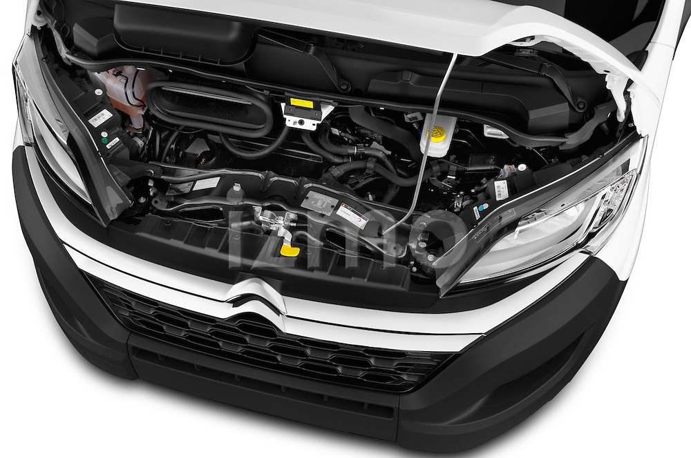 Car Stock 2015 Citroen Jumper L1H1 Club 3 Door Cargo Van Engine high angle detail view