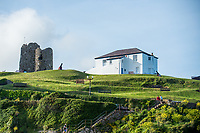 View of the Old Tenby Coastguard house and Castle at Tenby, Pembrokeshire, Wales, UK