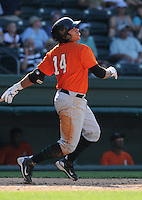 Infielder Juan Martinez (14) of the Augusta GreenJackets, Class A affiliate of the San Francisco Giants, in a game against the Greenville Drive on May 23, 2010, at Fluor Field at the West End in Greenville, S.C. Photo by: Tom Priddy/Four Seam Images