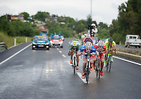 breakaway group descending in the rain with Frederik Backaert (BEL/Wanty-Groupe Gobert) leading<br /> <br /> Tour of Turkey 2014<br /> stage 4