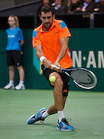 Rotterdam, The Netherlands. 15.02.2014. Marin Cilic(KRO) in his match against Igor Sijsling(NED) at the ABN AMRO World tennis Tournament<br /> Photo:Tennisimages/Henk Koster