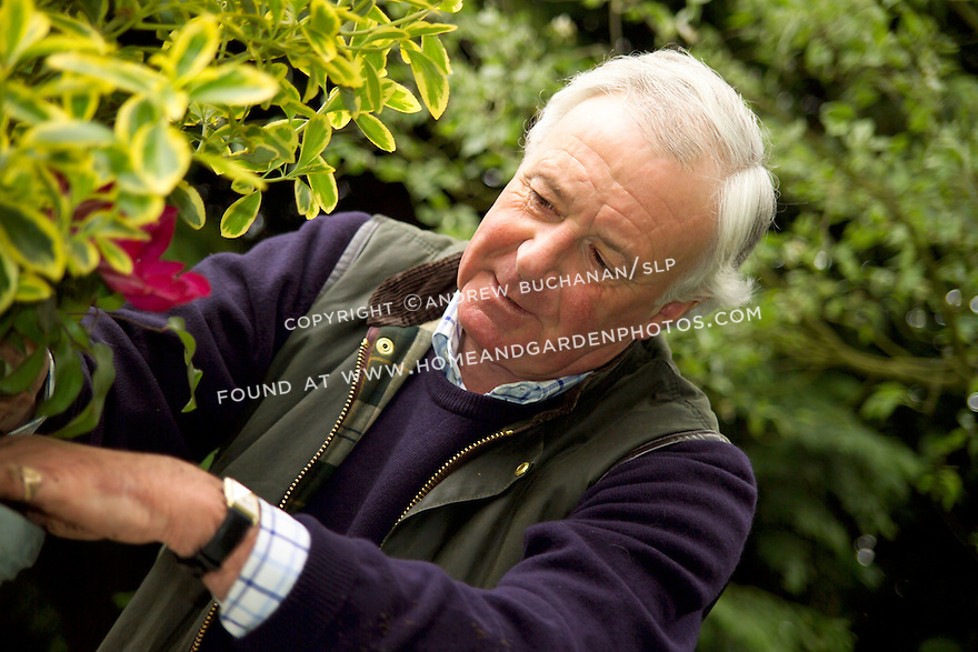 British gardener, Raymond Evison, of the Guernsey Clematis Nursery, creates a mixed container.