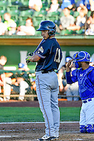 Didimo Bracho (11) of the Missoula Osprey at bat against the Ogden Raptors in Pioneer League action at Lindquist Field on July 14, 2016 in Ogden, Utah. Ogden defeated Missoula 10-4. (Stephen Smith/Four Seam Images)