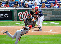 4 July 2009: Washington Nationals' infielder Ronnie Belliard leads off the 8th inning with a pinch-hit single to left initiating a 4-run rally against the Atlanta Braves at Nationals Park in Washington, DC. The Nationals defeated the Braves 5-3 to take the second game of the 3-game weekend series. Mandatory Credit: Ed Wolfstein Photo