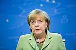 German Federal Chancellor Angela MERKEL in a press conference after the summit in Brussels.