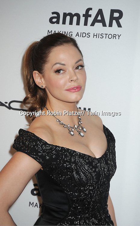 Rose McGowan in Marc Jacobs attends the amfAR Inspiration Gala on June 7, 2012 at The New YOrk Public Library in New York City. The honorees were Fergie and Robert Duffy/ Marc Jacobhs International and the Scissor Sisters performed.