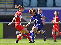Charlotte Cranshoff (18) of Standard  pictured with Kassandra Missipo (12) of Anderlecht during a female soccer game between RSC Anderlecht Dames and Standard Femina De Liege on the third matchday of play off 1 of the 2020 - 2021 season of Belgian Womens Super League , saturday 24 th of April 2021  in Brussels , Belgium . PHOTO SPORTPIX.BE | SPP | DAVID CATRY