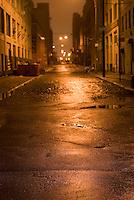 Mysterious Street Scene Illuminated at Night in the DUMBO neighborhood of Brooklyn, New York City, New York State, USA,   Selective Focus....