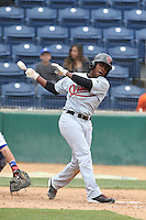 Domingo Leyba (2) of the Visalia Rawhide bats during a game against the Rancho Cucamonga Quakes at LoanMart Field on May 6, 2015 in Rancho Cucamonga, California. Visalia defeated Rancho Cucamonga, 7-2. (Larry Goren/Four Seam Images)