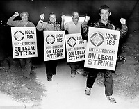 Etobicoke workers hit the bricks; Outside workers in Etobicoke man a picket line at the city's Bering Ave. works yard just minutes after walking off their jobs at 12.01 this morning. The strike by 625 workers is the first by the city's outside staff in 20 years. It halts garbage collection.