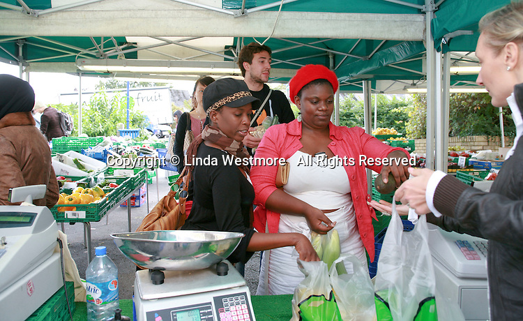 Students at the market, University of Surrey.