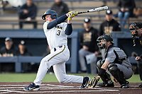 Michigan Wolverines outfielder Miles Lewis (3) follows through on his swing against the Western Michigan Broncos on March 18, 2019 in the NCAA baseball game at Ray Fisher Stadium in Ann Arbor, Michigan. Michigan defeated Western Michigan 12-5. (Andrew Woolley/Four Seam Images)