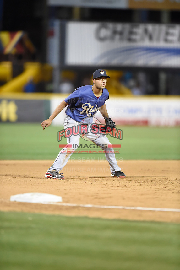 ***Temporary Unedited Reference File***Frisco RoughRiders third baseman Isiah Kiner-Falefa (4) during a game against the Corpus Christi Hooks on April 23, 2016 at Whataburger Field in Corpus Christi, Texas.  Corpus Christi defeated Frisco 3-2.  (Mike Janes/Four Seam Images)
