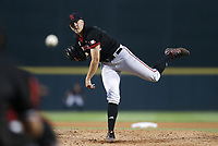 Nebraska Jake Bunz (27) pitches, Monday, June 7, 2021 in the eighth inning of the NCAA Fayetteville Regional at Baum-Walker Stadium in Fayetteville. Check out nwaonline.com/210608Daily/ for today's photo gallery. <br /> (NWA Democrat-Gazette/Charlie Kaijo)