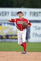 Batavia Muckdogs second baseman Brian Anderson (8) throws to first during a game against the Jamestown Jammers on July 7, 2014 at Dwyer Stadium in Batavia, New York.  Batavia defeated Jamestown 9-2.  (Mike Janes/Four Seam Images)