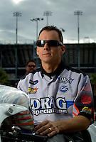 Oct. 31, 2008; Las Vegas, NV, USA: NHRA pro stock motorcycle rider Chris Rivas during qualifying for the Las Vegas Nationals at The Strip in Las Vegas. Mandatory Credit: Mark J. Rebilas-