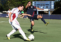 MIAMI, FL - DECEMBER 21, 2012:  Juan Pablo Ocegueda of the USA MNT U20 defends during a closed scrimmage with the Venezuela U20 team, on Friday, December 21, 2012, At the FIU soccer field in Miami.  USA won 4-0.