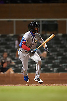 Glendale Desert Dogs Jeren Kendall (13), of the Los Angeles Dodgers organization, at bat during an Arizona Fall League game against the Scottsdale Scorpions on September 20, 2019 at Salt River Fields at Talking Stick in Scottsdale, Arizona. Scottsdale defeated Glendale 3-2. (Zachary Lucy/Four Seam Images)