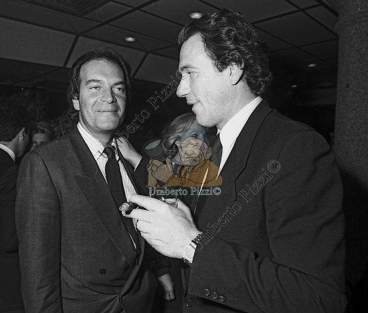 BEPPE PIRODDI CON EDOARDO POLLI<br /> FESTA ENRICO COVERI<br /> CAFFE' ROMA - MILANO 1984