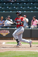 Payton Henry (15) of the Carolina Mudcats follows through on his swing against the Winston-Salem Dash at BB&T Ballpark on August 4, 2019 in Winston-Salem, North Carolina. The Dash defeated the Mudcats 7-5. (Brian Westerholt/Four Seam Images)