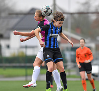 Aalst's Margaux Van Ackere pictured in a duel with Debbie Decoene (21 Brugge)   during a female soccer game between Club Brugge Dames YLA and Eendracht Aalst Ladies on the 9 th matchday of the 2020 - 2021 season of Belgian Scooore Womens Super League , saturday 12 December 2020  in Brugge , Belgium . PHOTO SPORTPIX.BE | SPP | DAVID CATRY