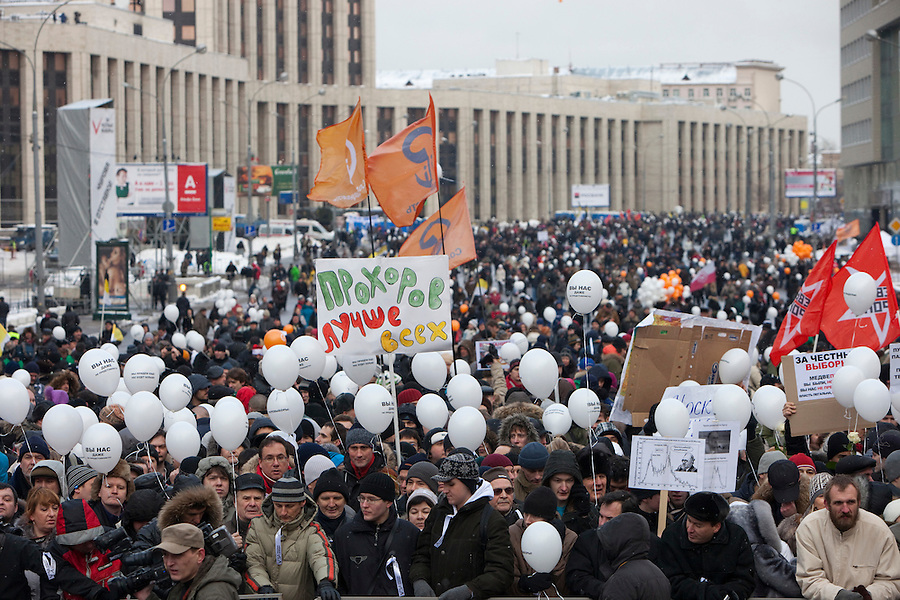 Moscow, Russia, 24/12/2011..An estimated crowd of up to 100,000 gather for a protest against election fraud and Prime Minister Vladimir Putin in the largest anti-government demonstration in Russia since the collapse of the Soviet Union.