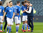 St Johnstone v Hibs…22.05.21  Scottish Cup Final Hampden Park<br />Callum Booth celebrates with the Steven MacLean at full time<br />Picture by Graeme Hart.<br />Copyright Perthshire Picture Agency<br />Tel: 01738 623350  Mobile: 07990 594431