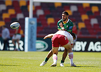 24th April 2021; Brentford Community Stadium, London, England; Gallagher Premiership Rugby, London Irish versus Harlequins; Curtis Rona of London Irish tackled by Andre Esterhuizen of Harlequins