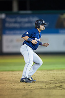 Payton Henry (33) of the Helena Brewers takes his lead off of second base against the Great Falls Voyagers at Centene Stadium on August 19, 2017 in Helena, Montana.  The Voyagers defeated the Brewers 8-7.  (Brian Westerholt/Four Seam Images)