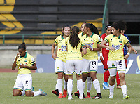 ITAGUI - COLOMBIA, 16-11-2020: Deportivo Independiente Medellín y Atlético Bucaramanga  en partido por la fecha 5 de la Liga femenina BetPlay DIMAYOR I 2020 jugado en el estadio Metropolitano de Itagui. / Deportivo Independiente Medellin and Atletico Bucaramanga in match for the date 5 BetPlay DIMAYOR women´s  League I 2020 played at Metropolitano de Itagui. Photo: VizzorImage / Juan Augusto Cardona / Contribuidor