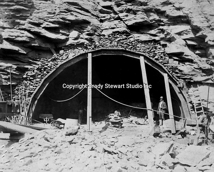 Hopedale OH:  Construction work at the east end of the Hanna Tunnel. The Pittsburgh, Toledo, and Western Railroad Company, owned by the famous George J. Gould,  hired Brady Stewart to document the track and tunnel construction between Hopedale Ohio, and downtown Pittsburgh.